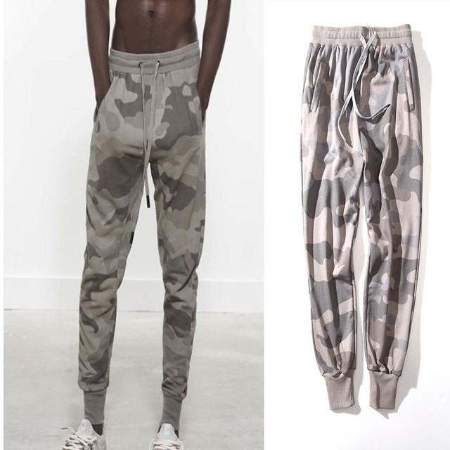 Alta Qualidade Roupas De Grife Mens Shirring Calças Perna Deserto Camuflagem Corredores HipHop Cônicos Calça De Carga Do Vintage