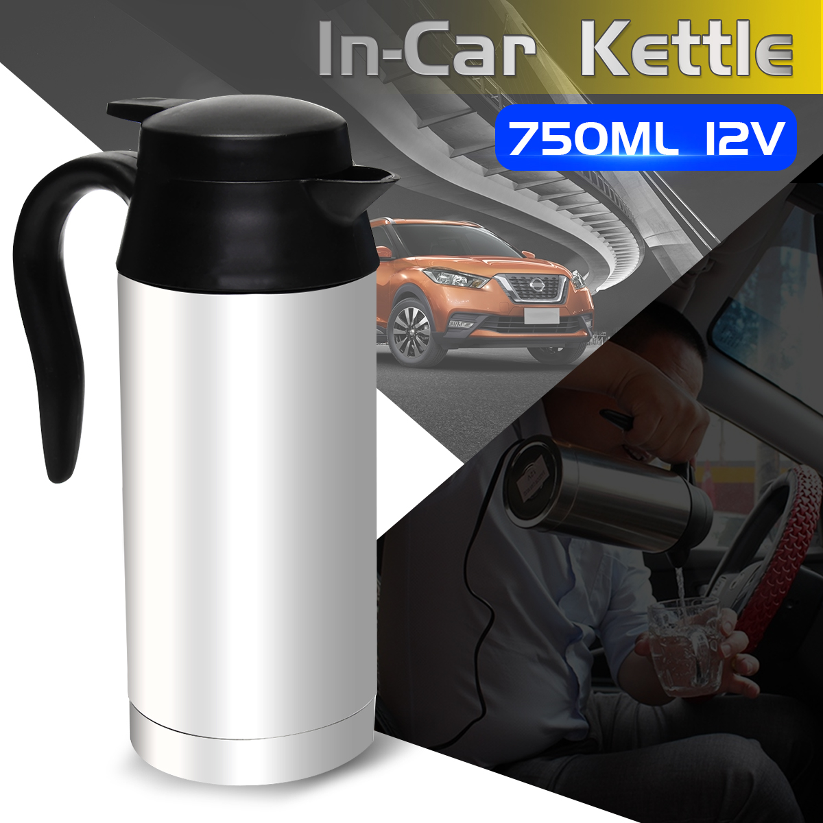750ml 12V Car Based Heating Stainless Steel Cup Kettle Travel Trip Coffee Tea Heated Mug Motor Hot Water For Car Or Truck Use automatic mixing cup camera lens stainless steel coffee tea mug travel