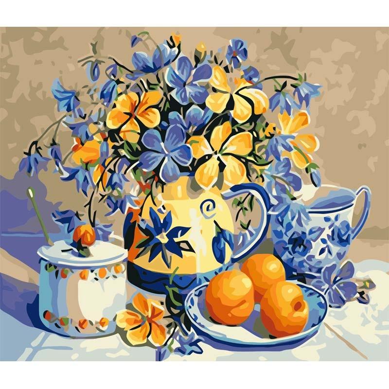 ④DIY pintura al óleo por números todavía vida cuadro de la sala de ...