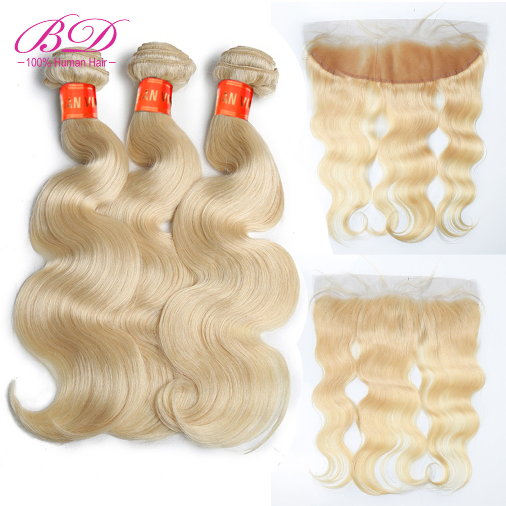 613 Blonde Bundles With Frontal Body Wave 3 Bundles Malaysian Remy Hair Extensions Lace Frontal Closure with Human Hair Bundles image