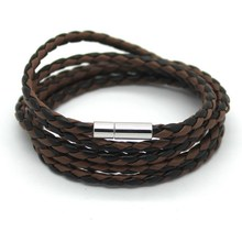Latest Popular 5 Laps Leather Bracelet, Men Charm Vintage Black Bracelet, Free Shipping!10 Color Choose