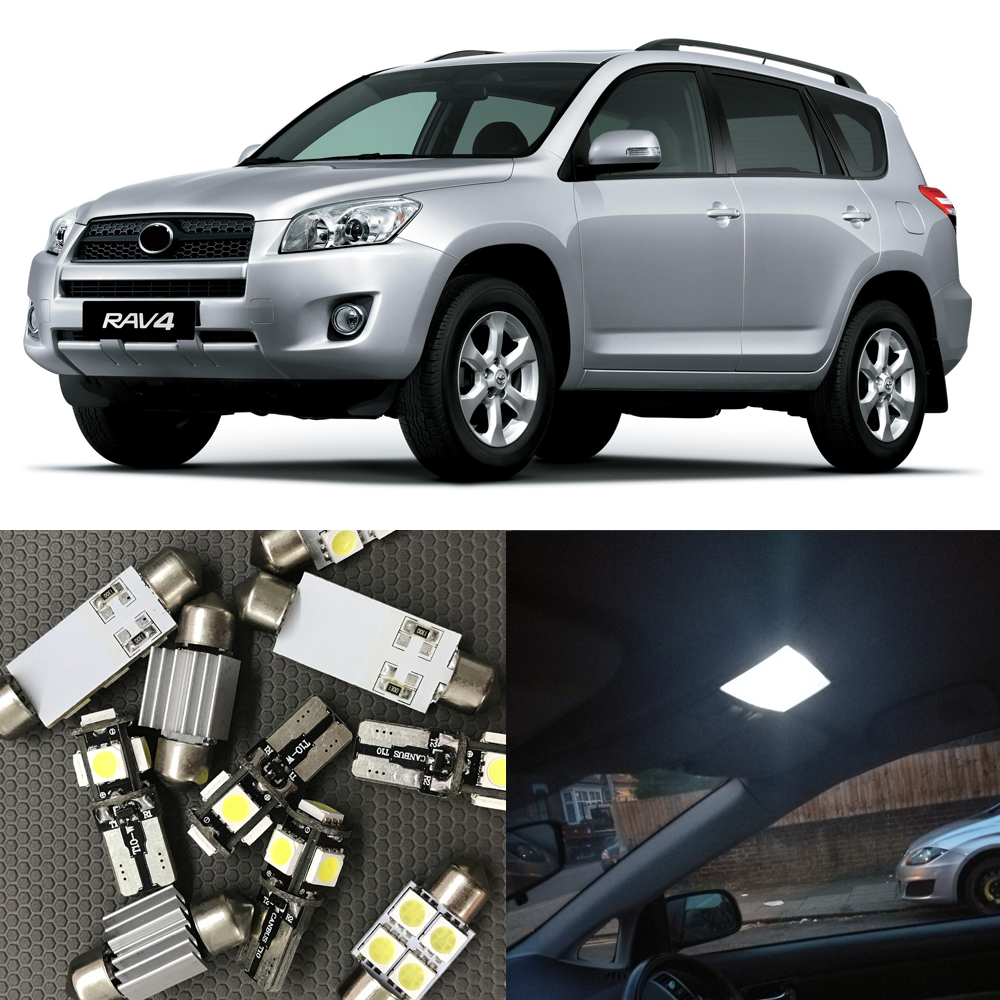 10pcs Xenon White Car Interior Auto LED bulbs Kit For 2006-2012 Toyota RAV4 Map Dome License Plate Light 12V Car Light source