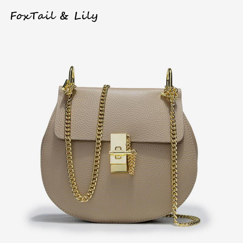 FoxTail & Lily Korean Genuine Leather Chain Bag Women Crossbody Bags Ladies Handbags Small Shoulder Messenger Bag for Girls genuine leather handbags 2016 new winter handbags korean version of head layer cowhide women shoulder messenger bag small bags