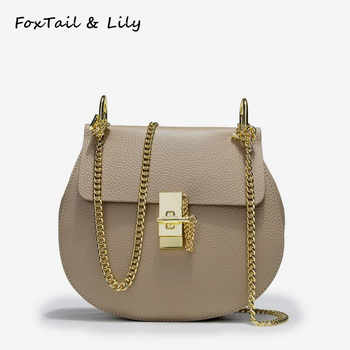 FoxTail & Lily Korean Genuine Leather Chain Bag Women Crossbody Bags Ladies Handbags Small Shoulder Messenger Bag for Girls - DISCOUNT ITEM  49% OFF All Category