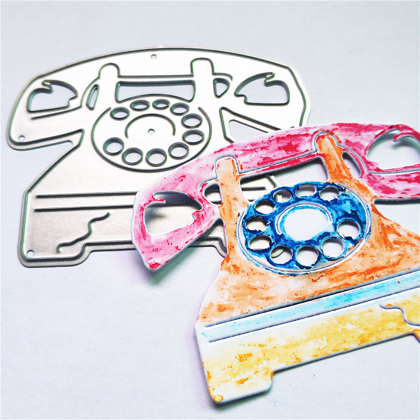 Wholesale die Cutting dies Retro phone metal craft paper die Scrapbooking/DIY Embossing mould Christmas New Year cards image