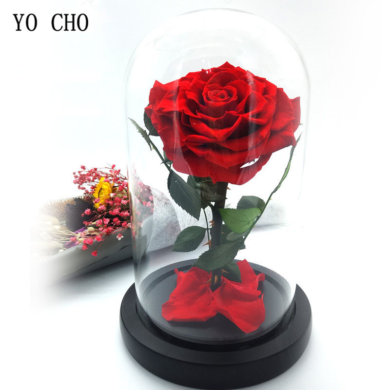 Dried Flowers Prince Glass Cover Fresh Preserved Rose Flower Immortal Eternal Rose In a Glass Dome Valentines Day Gift for Wife