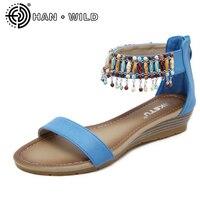 Roman Sandals National Style Women Sandals Hanging Beads Women Wedges Sandals Fashion Bohemian Women Shoes Summer