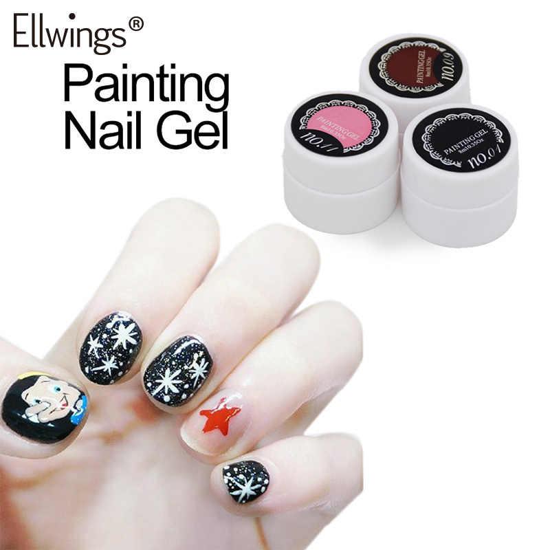 Ellwings Gel Laque 8 ml Pur Couleurs UV Gel Manucure bricolage Français Nail Art Conseils Gel Polonais Conception de Peinture À Ongles Gel de Couleur