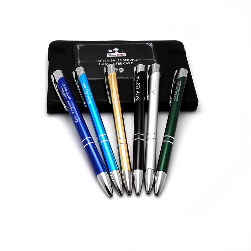 Hot promotional giveaway ideas metal ballpoint pen engraved free with enterprises hotels or Banks logo and contacts