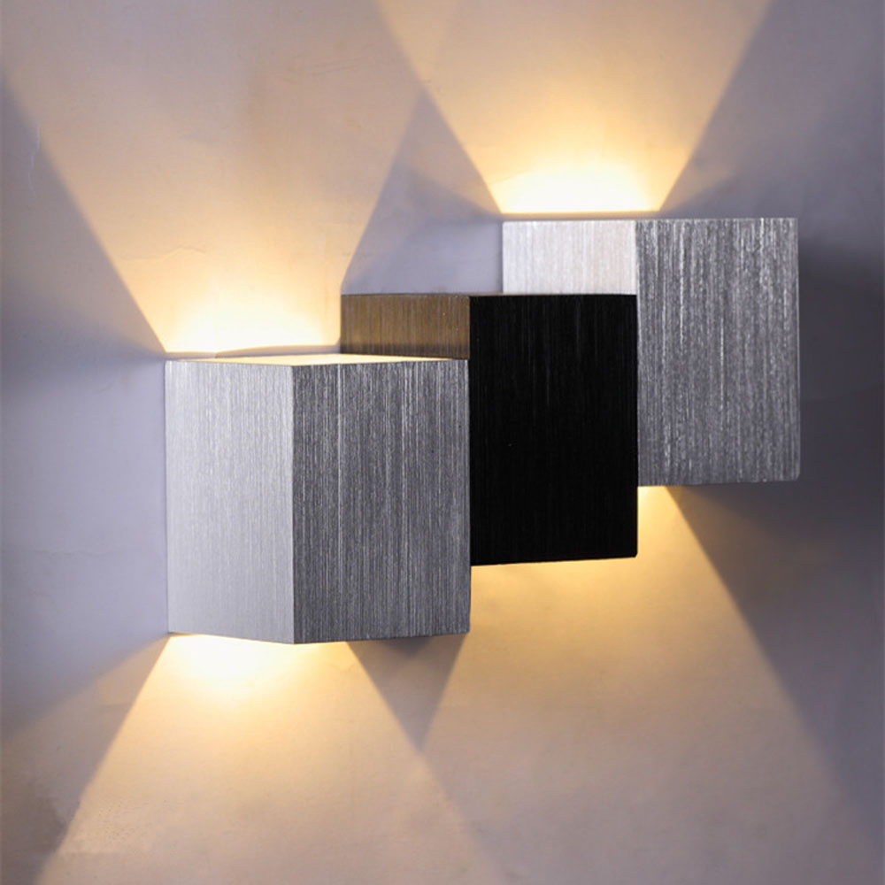 2w square shape led wall lamps up down wire drawing hanging 1 2w led wall lighting 1 set of screws mozeypictures Images