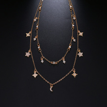 Bohemian Multilayer Crystal Stars Moon Necklace Women's Vintage Layered Gold Collar Necklace Fashion Jewelry 2018 Party Gift Jew