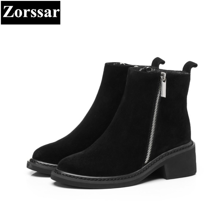 {Zorssar} 2017 NEW arrival Autumn winter Women Boots short plush High heels Ankle Boots Cow suede fashion womens Chelsea Boots zorssar brands 2018 new arrival fashion women shoes thick heel zipper ankle chelsea boots square toe high heels womens boots