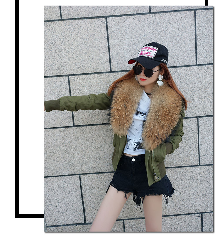 women cotton Flight suit jacket with real fur collar (4)