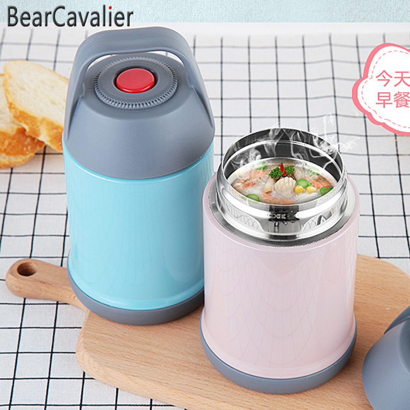 BearCavalStainless Steel Food Thermos Braised Beaker Mini Bucket Vacuum Insulated Thermos Pot Soup Lunch Bucket Porridge Mug Термос