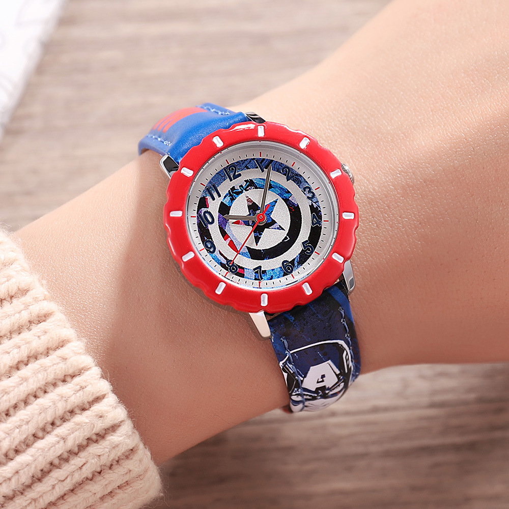 Children's Watch  Boys Girls Cosplay Captain America Cartoon Kids Watches Gift Quartz Superman Avenger Anime Kids Watches