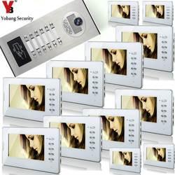 YobangSecurity Главная видеодомофон 7 дюймов HD Visual дверной Звонок RFID 12 единица квартира Система контроля доступа видео-телефон двери