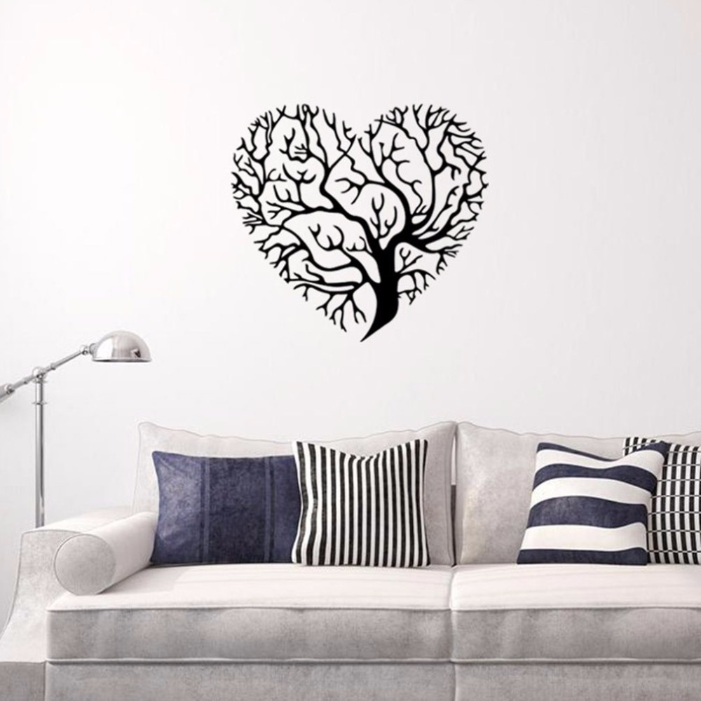 Romantic unique heart tree pattern wall sticker beautiful - Beautiful wall stickers for living room ...