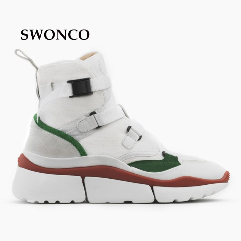 SWONCO Women's Flats Shoes 2018 Autumn Winter Genuine Leather High Top Girl Sneakers Platform Shoes Women Sneakers Woman Shoe wolf who 2018 spirng winter women genuine leather shoes high top women platform shoes creeper platform sneakers wedge h 181