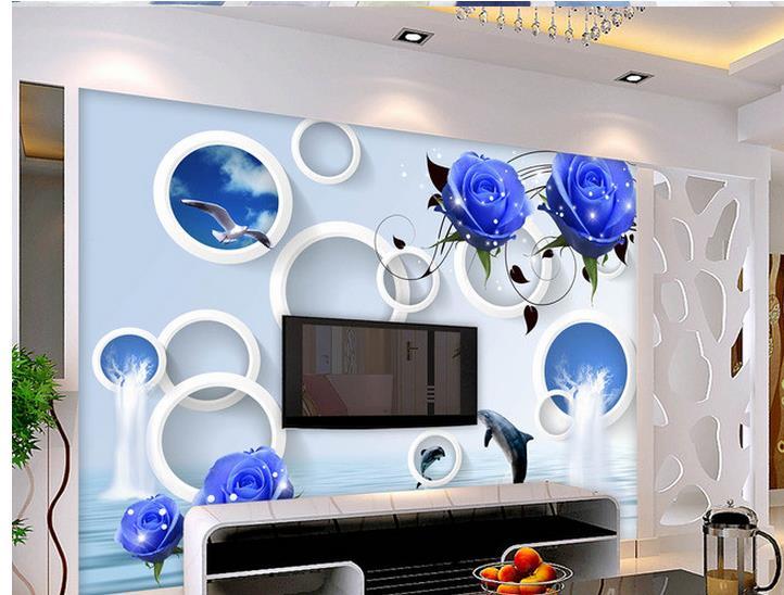 3d wallpaper for room Blue Rose reflection backdrop wall 3d wallpaper customized wallpaper for walls