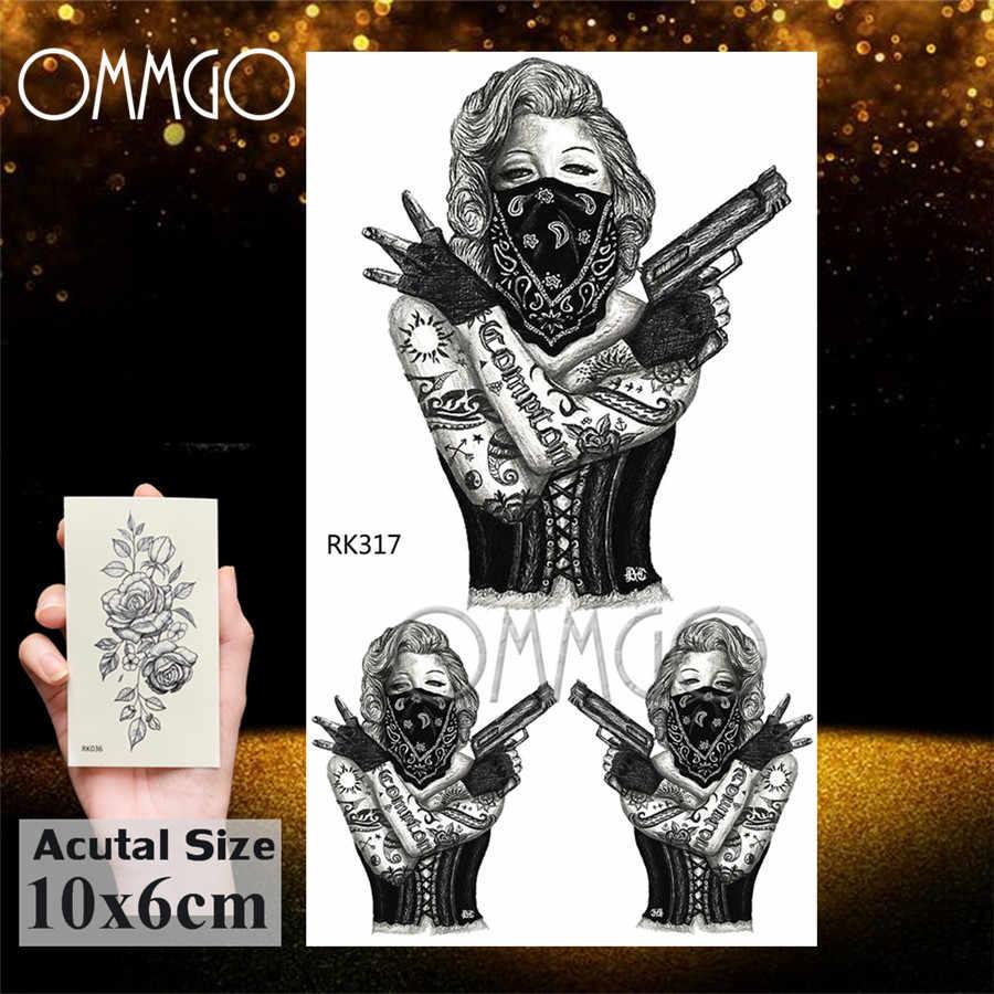 OMMGO Gangster Arma Pistola Del Tatuaggio Temporaneo Adesivi Body Art Braccio Del Polso Tatuaggi Finti Per Le Donne Degli Uomini Impermeabili Tatuaggi Sexy Adulti