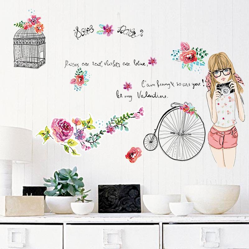 creativo de la manera pintada a mano jvenes chica pegatinas de pared chica dormitorio dormitorio de