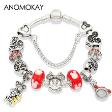 Anomokay Red Minnie Pendant Pan Charm Bracelets & Bangles Antique Silver Plated Heart Mickey Bead Bracelet Moda Mujer 2019