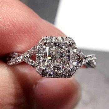 a34347de1fd0 Vecalon moda mujer corte princesa anillo 1ct aaaaa ZIRCON CZ 925 joyería de  plata anillo de boda de compromiso para las mujeres regalo