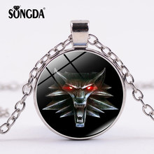 SONGDA The Witcher 3 Wild Hunt Necklace Game Animal Wolf Head Medallion Glass Crystal Pendants Original Quality Trendy Jewelry(China)