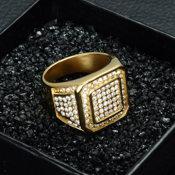 Iced Out Square Crystal Ring 1