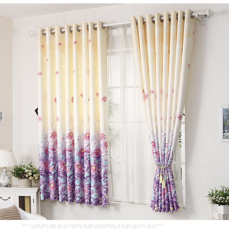 New sunflowers pattern curtains high grade finished for Curtains for young adults