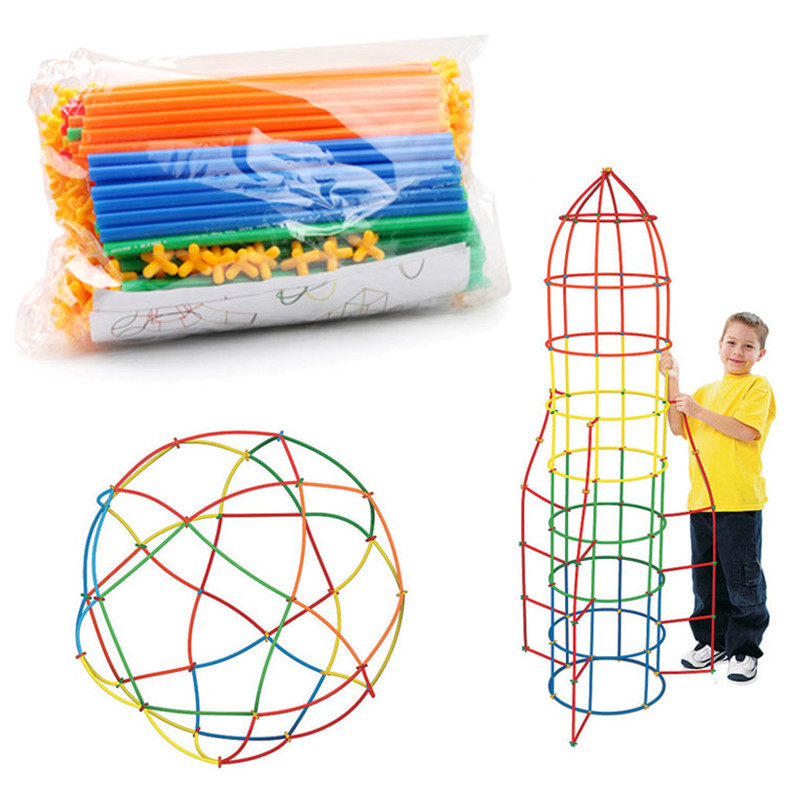 100Pcs Colorful Plastic Straw Assembled Building Blocks Educational Toy Children