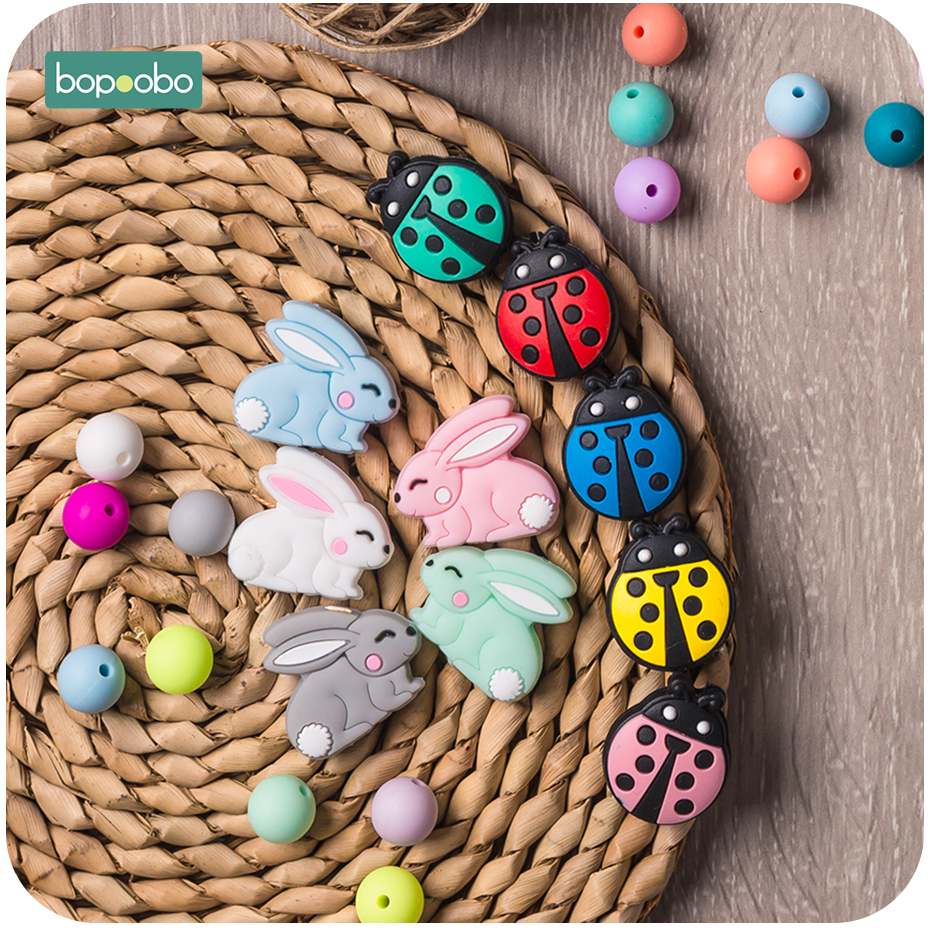 Bopoobo 5pc Silicone Panda Beads Rodent Baby Teething Silicone Rabbit Beads Silicone Pearl Teether Beads Baby Silicone Teether