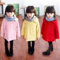 Детская одежда 2016 осень и зима девочка шерстяные верхняя одежда средней длины двубортный шерстяной пальто