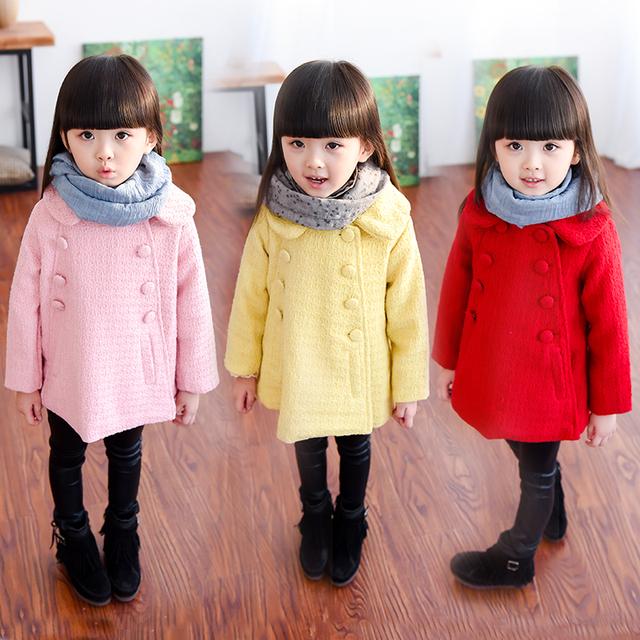 Ropa para niños 2016 otoño y el invierno niña de lana de prendas de vestir exteriores medio-largo doble botonadura abrigo de lana