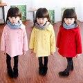 Vestuário 2016 outono e inverno das crianças criança do sexo feminino outerwear lã de médio-longo double breasted casaco de lã