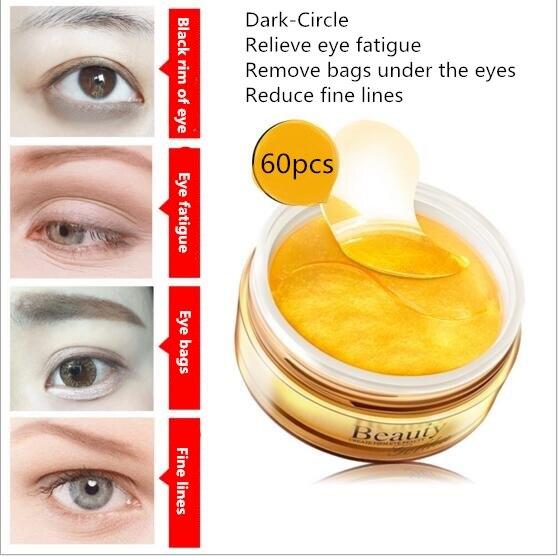 Hyaluronic Acid Golden Eye Mask Dark Circle Eye Bags Eliminate Puffy Eyes Fine Line Wrinkles Anti Aging Whitening Skin