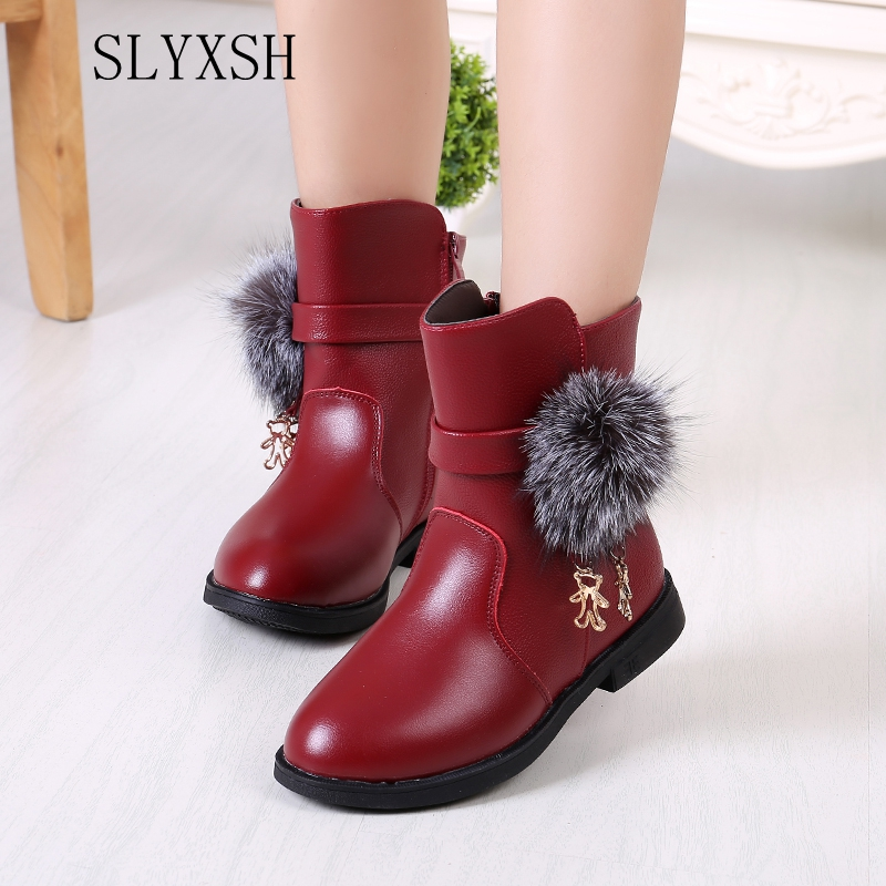 Winter Fashion Child Girls Snow Boots Shoes Warm Plush Soft Bottom Baby Girls Boots Comfy Kids Leather Winter Snow Boot For Bab