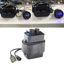 Wodoodporny akumulator rowerowy 18650 Case USB 5.V + DC 8.4V wyjście zewnętrzny akumulator Power Bank na telefon komórkowy