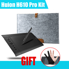 Best price Huion H610 Pro 10″x 6.25″ 5080 LPI Art Graphics Drawing tablet +15″ Wool Liner Bag  for MACbook +Anti-fouling Glove (gift)