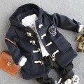 2-9Y новые 2016 зимние мальчики мода рог кнопку шерстяное over fleece внутри пальто мальчики толстый теплый ягненка шерстяное пальто детская одежда набор