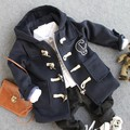 2-9Y 2016 novos meninos inverno moda botão da buzina de lã sobre lã dentro casaco meninos casaco grosso de lã de cordeiro quente crianças conjunto de roupas