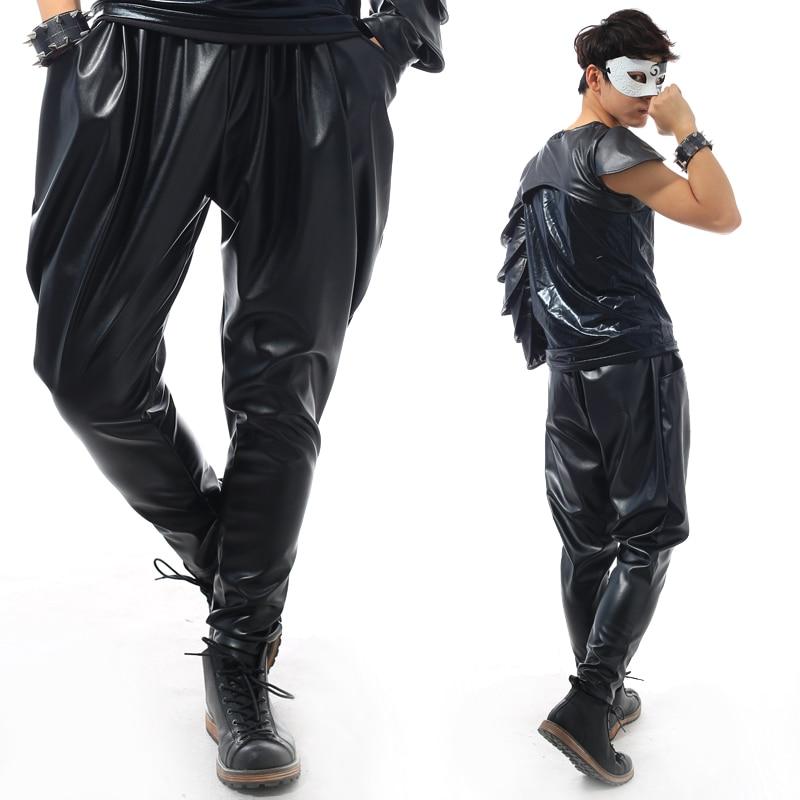 Masculino Clo Flaco Negro La Trajes 2018 Hombres Pantalones Yardas Los Elástico Un Grandes Dj Black De Club Cuero Cantante 0wqHRwF7
