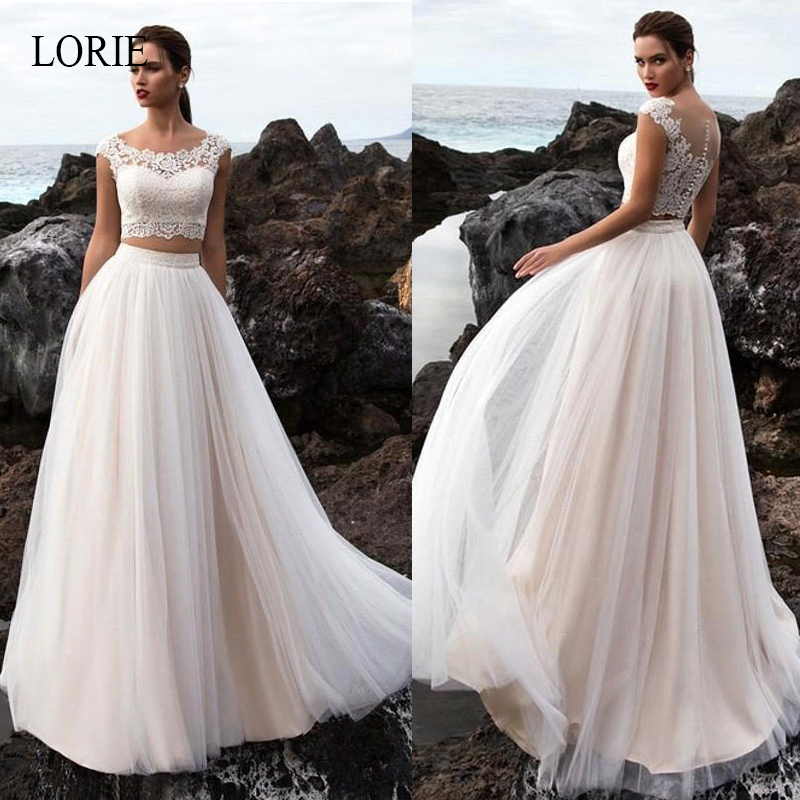 LORIE Boho Wedding Dress 2 Pieces A Line Appliques Lace Tulle Skirt Custom Made Beach Bride