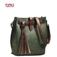 2017 New fashion women pu leather shoulder bag bucket bag drawstring bucket bag crossbodybag messenger handbag ZL39.9
