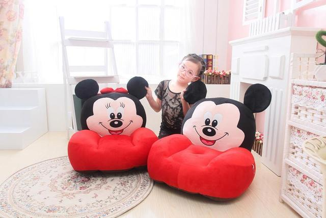 Large About 54x45cm Cartoon Mickey,Minnie Mouse Plush Seat Childrenu0027s  Tatami Plush Toy Sofa Floor