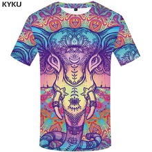 KYKU Elephant Tshirt Men Animal T-shirt Colorful Flower 3d Print T Shirt Anime Clothes Gothic Hip Hop Mens Clothing Streetwear цена