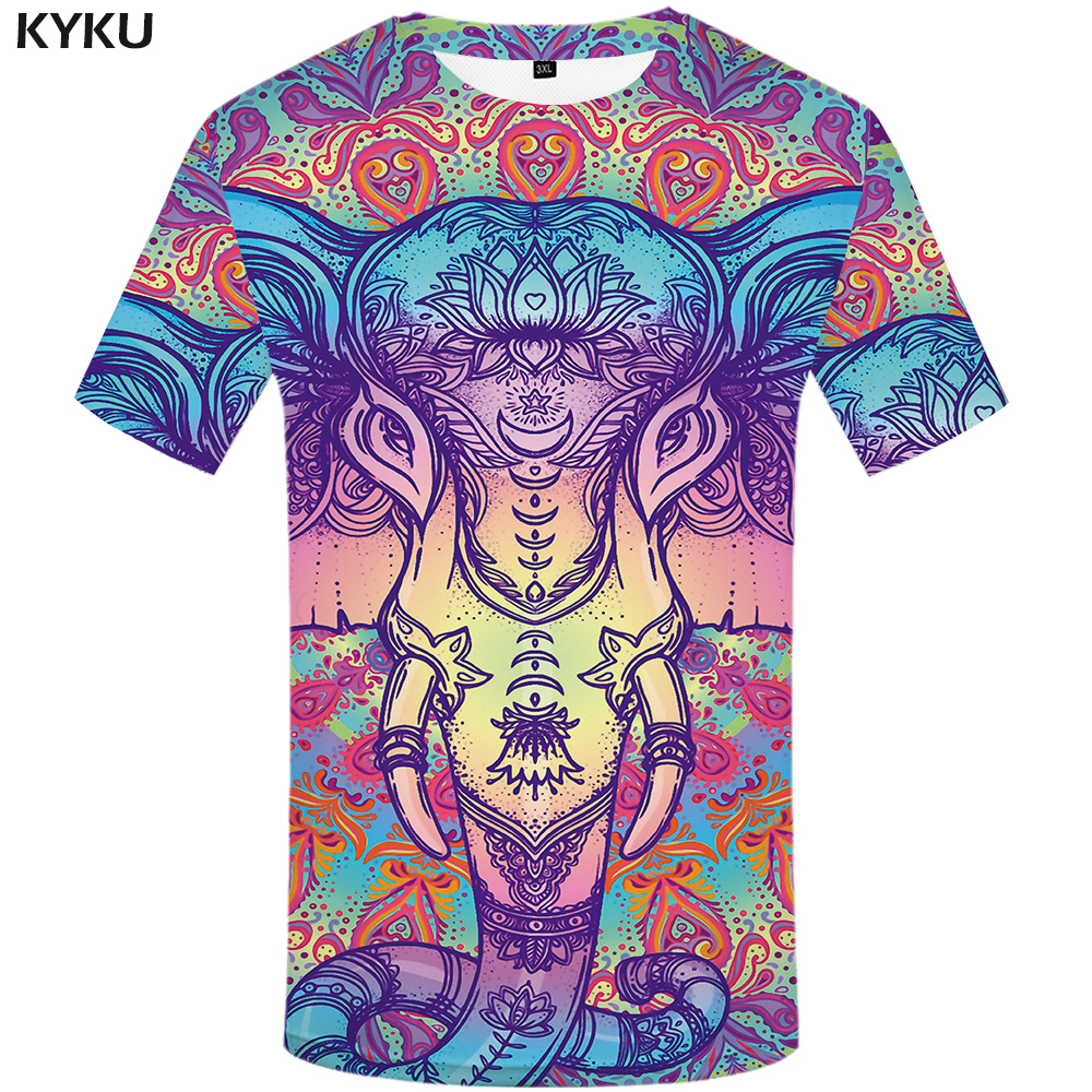 KYKU Elephant Tshirt Men Animal   T  -  shirt   Colorful Flower 3d Print   T     Shirt   Anime Clothes Gothic Hip Hop Mens Clothing Streetwear
