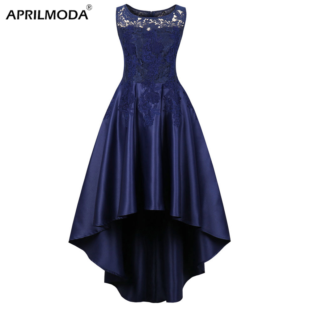 Élégant bleu foncé longue robe de soirée court avant Long dos asymétrique grande taille dîner robes formelles dentelle femmes vêtements 2019