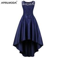 Elegant Dark Blue Long Party Dress Short Front Long Back Asymmetrical Plus Size Dinner Formal Dresses Lace Women Clothing 2019