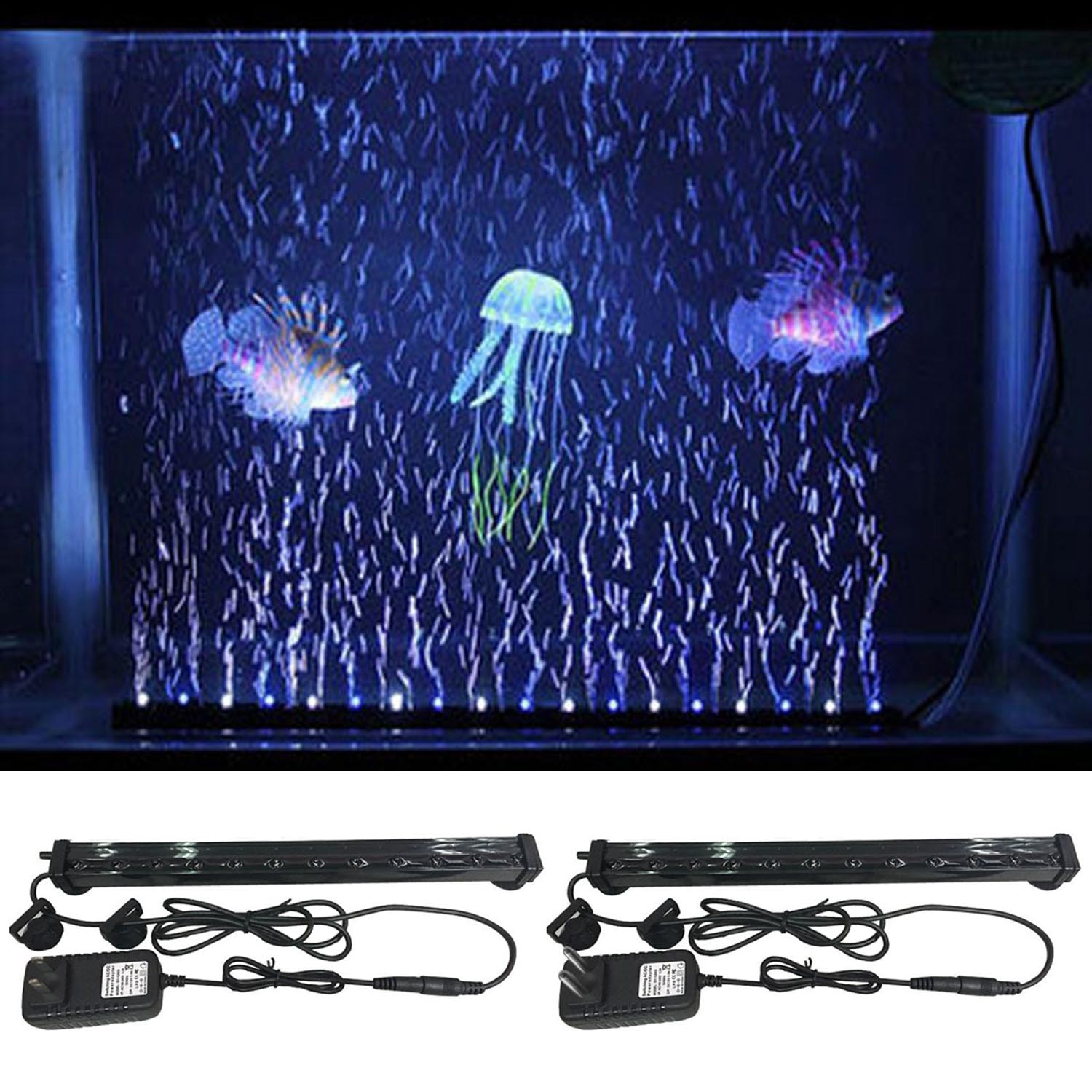 Behogar Colorful Changing Underwater Submersible LED Light Aquarium Fish Tank Air Bubble Automatically 17/32/47CM Length